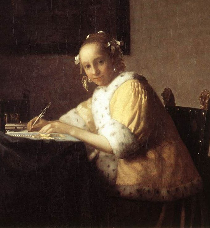 A Lady Writing a Letter by Jan Vermeer